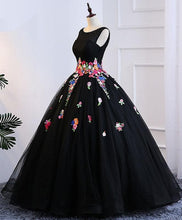 Load image into Gallery viewer, Black Tulle Long Prom Gown, Black Evening Dress - DelaFur Wholesale