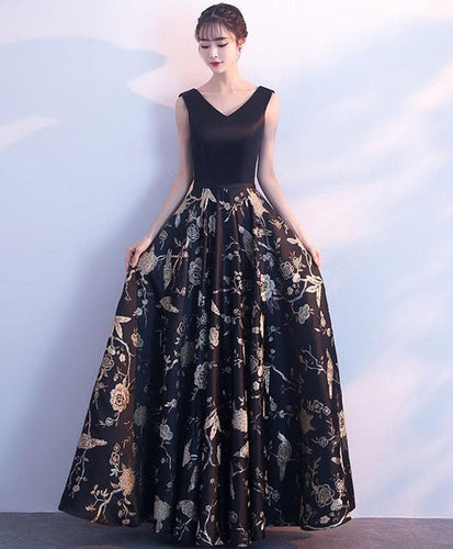 Black V Neck Floral Pattern Long Prom Dress, Evening Dress - DelaFur Wholesale