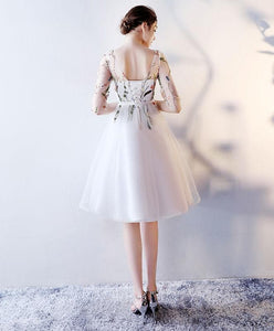 Cute Round Neck Tulle Short Prom Drdess, Homecoming Dress - DelaFur Wholesale