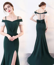 Load image into Gallery viewer, Green Long Prom Dress, Mermaid Green Evening Dress - DelaFur Wholesale