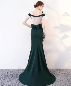 Green Long Prom Dress, Mermaid Green Evening Dress - DelaFur Wholesale