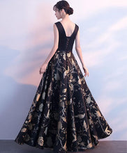 Load image into Gallery viewer, Black V Neck Floral Pattern Long Prom Dress, Evening Dress - DelaFur Wholesale