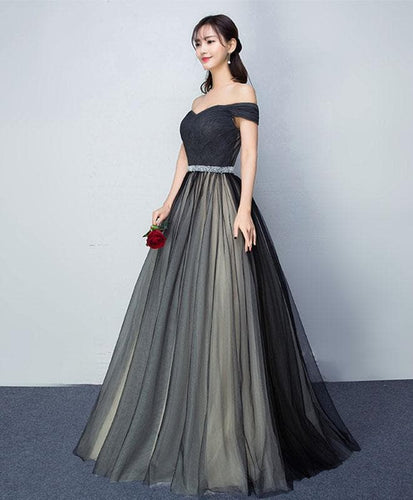 Black Tulle V Neck Long Prom Gown, Black Evening Dress - DelaFur Wholesale