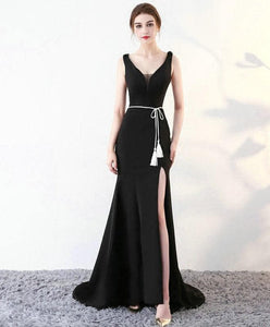 Black V Neck Long Prom Dress, Mermaid Evening Dress - DelaFur Wholesale