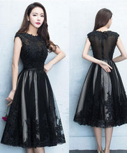 Load image into Gallery viewer, Black Round Neck Lace Tulle Short Prom Dress, Black Evening Dress - DelaFur Wholesale