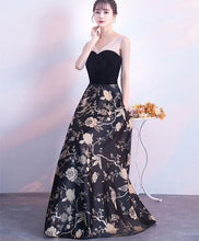 Load image into Gallery viewer, Black Floral Pattern Long Prom Dress, Black Evening Dress - DelaFur Wholesale
