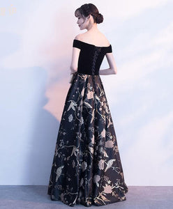 Black Off Shoulder Floral Pattern Long Prom Dress, Evening Dress - DelaFur Wholesale