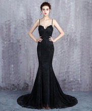 Load image into Gallery viewer, Black Lace Long Prom Dress, Mermaid Evening Dress - DelaFur Wholesale
