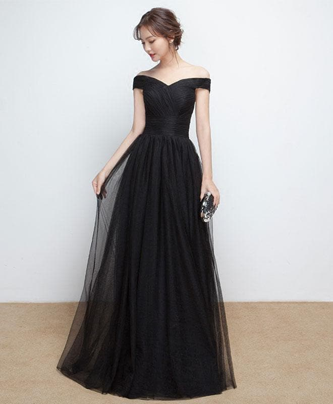Black Tulle Long Prom Dress, Black Evening Dress - DelaFur Wholesale