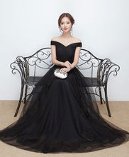 Load image into Gallery viewer, Black Tulle Long Prom Dress, Black Evening Dress - DelaFur Wholesale