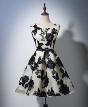 Load image into Gallery viewer, Cute Round Neck 3D Flowers Short Prom Dress - DelaFur Wholesale
