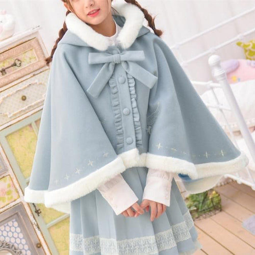 Blue Pastel Fairy Bow Woolen Hoodie Poncho SP13232