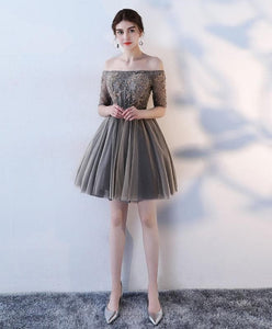 A Line 1/2 Sleeve Lace Short Prom Dress, Homecoming Dress - DelaFur Wholesale