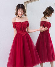 Load image into Gallery viewer, Cute Burgundy Off Shoulder Short Prom Dress - SpreePicky FreeShipping