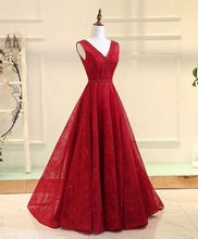 Load image into Gallery viewer, Burgundy V Neck Lace Long Prom Gown, Burgundy Evening Dress - Harajuku Kawaii Fashion Anime Clothes Fashion Store - SpreePicky