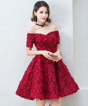 Load image into Gallery viewer, Cute Burgundy Short Prom Dress, Evening Dress - DelaFur Wholesale