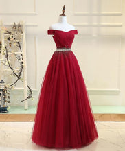 Load image into Gallery viewer, Burgundy Tulle Off Shoulder Long Prom Dress, Burgundy Evening Dress A004 - SpreePicky