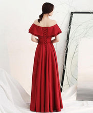 Load image into Gallery viewer, Burgundy Satin Long Prom Dress - SpreePicky FreeShipping