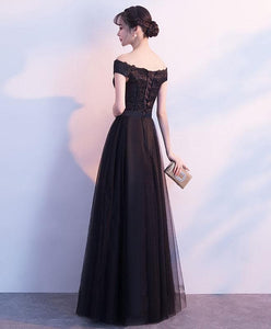 Black Lace Tulle Long Prom Dress, Lace Evening Dress - DelaFur Wholesale
