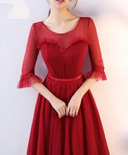 Load image into Gallery viewer, Burgundy Round Neck Tulle Long Prom Dress, Evening Dress - DelaFur Wholesale