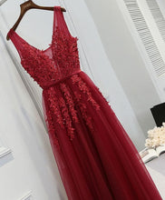 Load image into Gallery viewer, Burgundy V Neck Lace Tulle Long Prom Dress, Lace Evening Dress - Harajuku Kawaii Fashion Anime Clothes Fashion Store - SpreePicky
