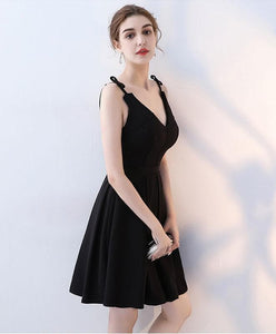 Simple Black V Neck Short Prom Dress, Homecoming Dress - DelaFur Wholesale