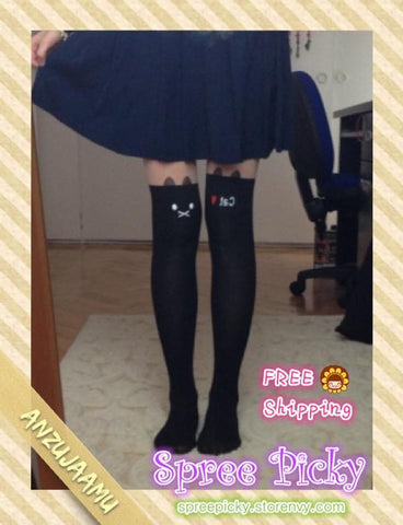 lovely cat fake over-the-knee stockings knee stovepipe female socks SP130164 - SpreePicky  - 1