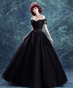 Black Off Shoulder Long Prom Gown, Black Evening Dress - DelaFur Wholesale