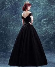 Load image into Gallery viewer, Black Off Shoulder Long Prom Gown, Black Evening Dress - DelaFur Wholesale