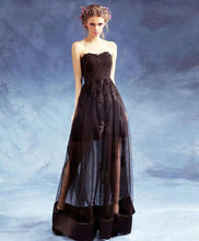 Load image into Gallery viewer, Black Sweetheart Neck Lace Long Prom Dress, Black Eveing Dress - DelaFur Wholesale