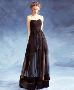 Black Sweetheart Neck Lace Long Prom Dress, Black Eveing Dress - DelaFur Wholesale