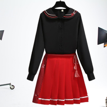 Load image into Gallery viewer, ( Reservation)Improved Hanfu Elements Sweatshirt + Coat+ Short Skirt SP15687