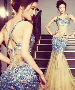 Stylish Mermaid Beading Long Prom Dress, Meremaid Evening Dress - DelaFur Wholesale