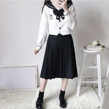 Load image into Gallery viewer, Sweet Panda Embroidery Navy Collar JK Uniform Two Piece Set SP15178