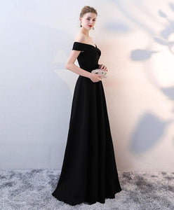 Simple Black V Neck Long Prom Dress, Black Evening Dress - DelaFur Wholesale