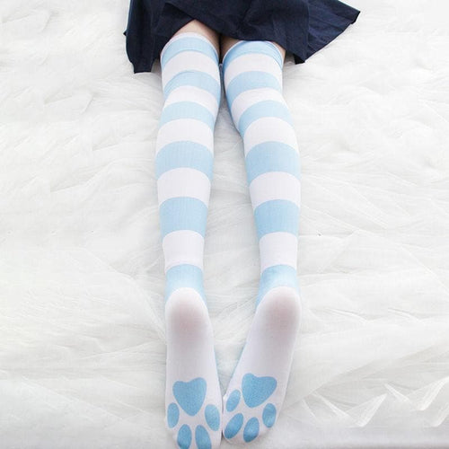 Sweet Striped Cat Paw Prints Over-the-knee Socks SP15329
