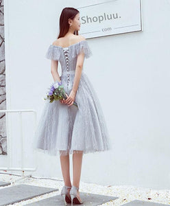 Stylish Lace Tulle Off Shoulder Short Prom Dress, Homecoming Dress - DelaFur Wholesale