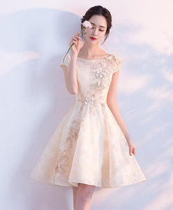 Champagne A-Line Tulle Lace Short Prom Dress, Champagne Evening Dress - SpreePicky FreeShipping
