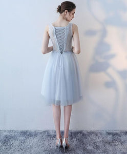 Cute V Neck Lace Tulle Short Prom Dress, Homecoming Dress - DelaFur Wholesale