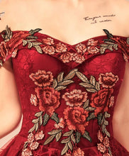 Load image into Gallery viewer, Burgundy Lace Off Shoulder Short Prom Dress, Lace Evening Dress - Harajuku Kawaii Fashion Anime Clothes Fashion Store - SpreePicky