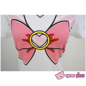 [S-3XL] Sailor Moon Chibi Moon Pink Bow Cotton T-shirt Top SP140963 - SpreePicky  - 6