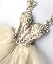 Load image into Gallery viewer, Champagne Tulle Beading Short Prom Dress, Champagne Evening Dress - SpreePicky FreeShipping