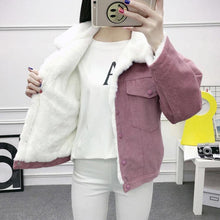 Load image into Gallery viewer, Fashion Faux Fur Lining Corduroy Bomber Jacket SP14565 - SpreePicky FreeShipping