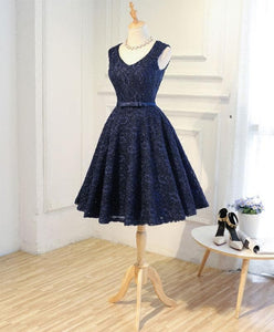 Dark Blue Lace Short Prom Dress, Blue Homecoming Dress - DelaFur Wholesale