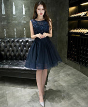 Load image into Gallery viewer, Dark Blue Lace Beading Short Prom Dress, Dark Blue Evening Dress - DelaFur Wholesale