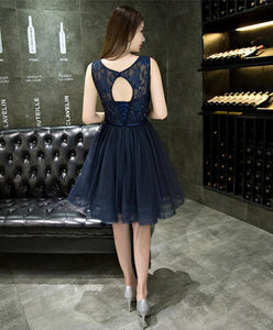 Dark Blue Lace Beading Short Prom Dress, Dark Blue Evening Dress - DelaFur Wholesale
