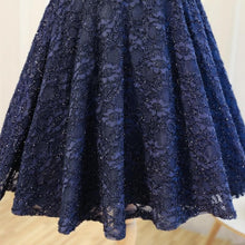 Load image into Gallery viewer, Dark Blue Lace Short Prom Dress, Blue Homecoming Dress - DelaFur Wholesale