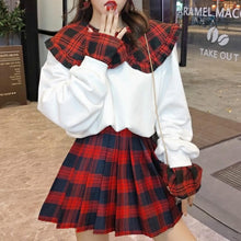 Load image into Gallery viewer, Black/White Plaid Doll Collar Sweater/Skirt Set SP14645 - SpreePicky FreeShipping