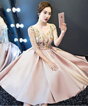 Load image into Gallery viewer, Cute A Line Black Short Prom Dress, Pink Evening Dress - DelaFur Wholesale