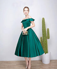 Load image into Gallery viewer, Green Satin Short Prom Dress, Green Evenig Dress - DelaFur Wholesale